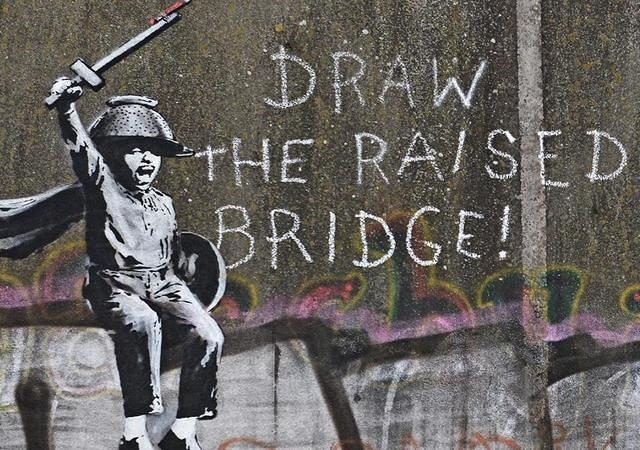 Banksy Hull UK Draw Raised Bridge