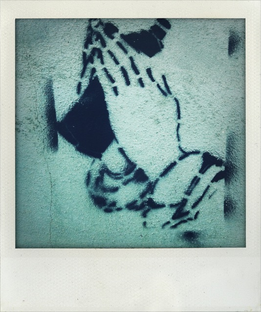 PT praying hands with paint can