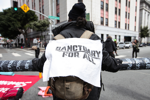 SF Financial District ICE protest photo - Ekevara Kitpowsong
