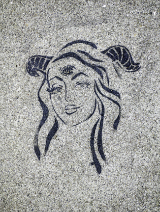 SF SoMa 3eyed horned woman