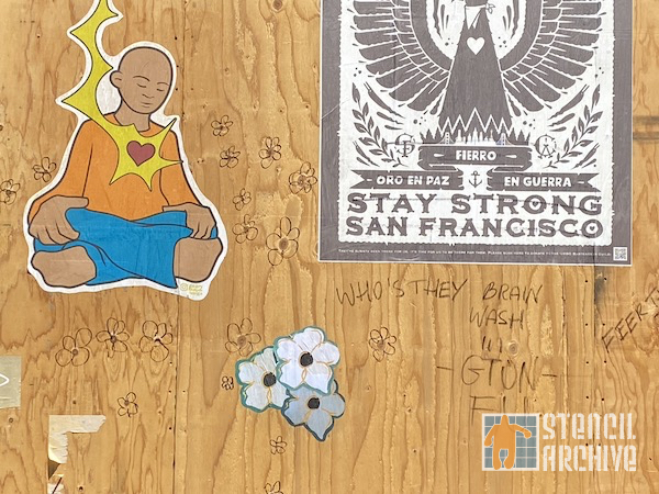 SF Fillmore flowers wheatpaste