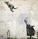 Banksy Paris 2018 rat on cork ride