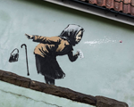 Banksy UK Bristol woman sneezing ph zmerkh