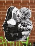 Le Loup kissing masked nun