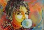C215 Nina blows bubble