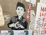 FR Paris Belleville child superman paste up