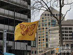 East Bay protest butterfly migrant flag